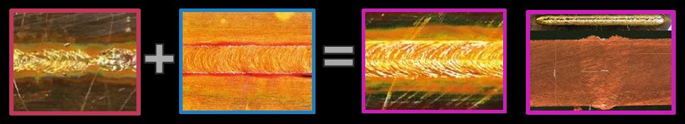 graph for hybrid laser process blue + NIR