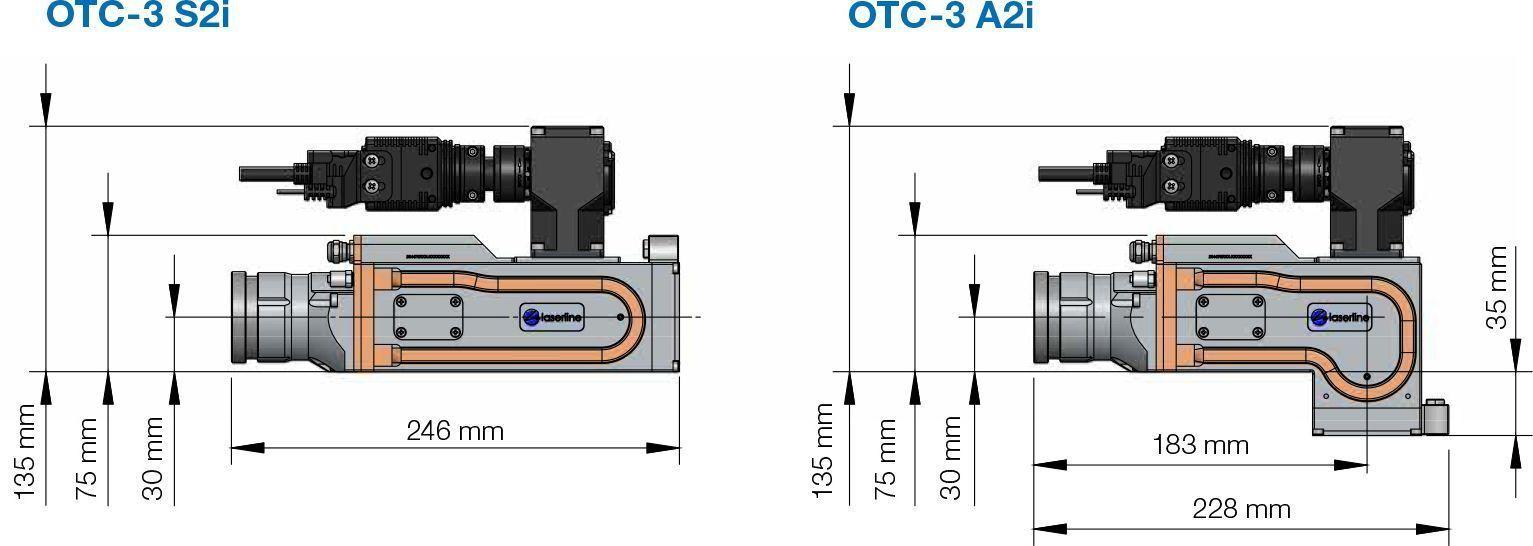 Abmessungen Bearbeitungsoptik OTC-3 Serie
