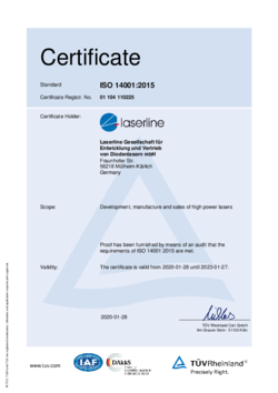 Certificate environment ISO 14001:2015 valid from 2020 to 2023 English