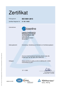 Certificate quality ISO 9001:2015 valid from 2017 to 2020 German