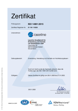 Certificate environment ISO 14001:2015 valid from 2020 to2023 German